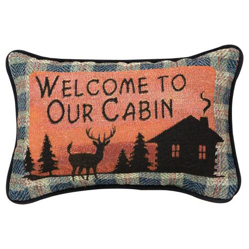 Deer & Bear Lake Welcome Tapestry Pillow