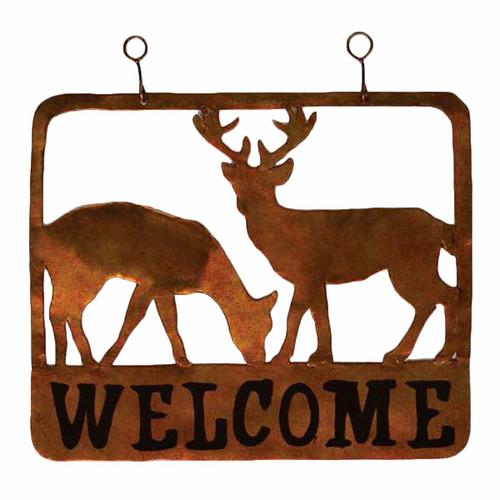 Deer Duo Metal Welcome Sign