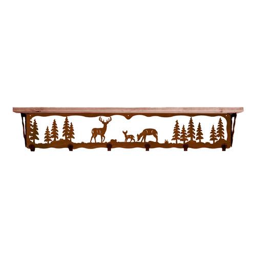 Deer Family 42 Inch Pine Hook Shelf