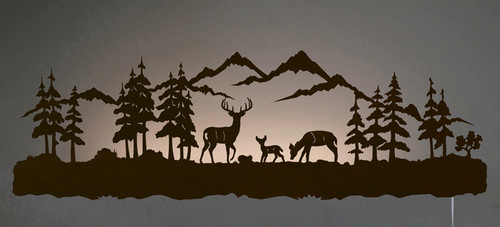 Deer Family Back Lit Wall Art