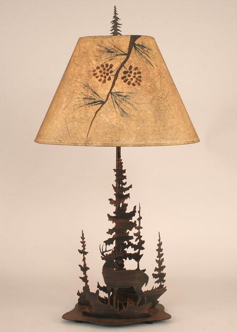 Deer Family Round Metal Art Table Lamp