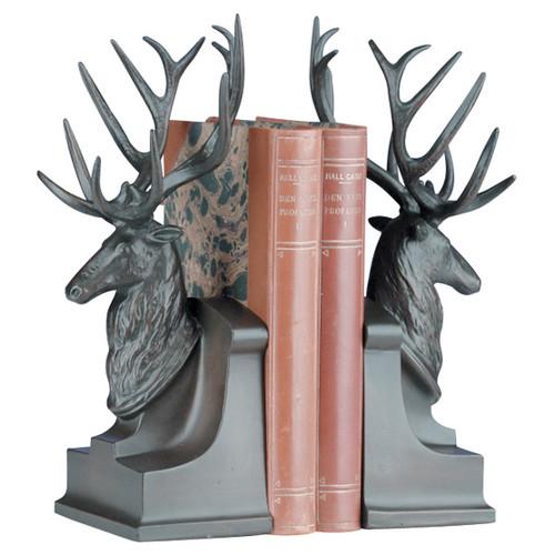 Deer Head Bookends - Bronze
