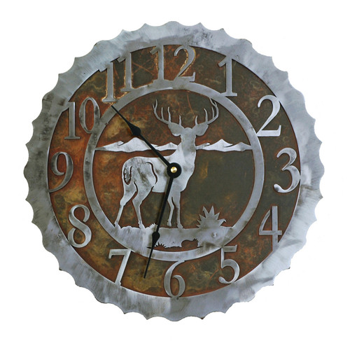 Deer Metal Art Clock - 12 Inch