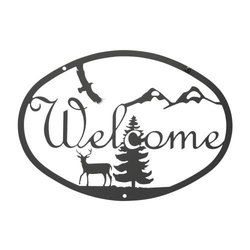 Deer Script Welcome Sign