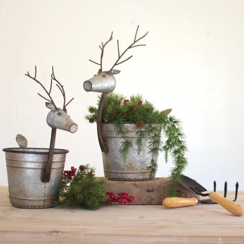 Deer Tin Bucket Planters - Set of 2