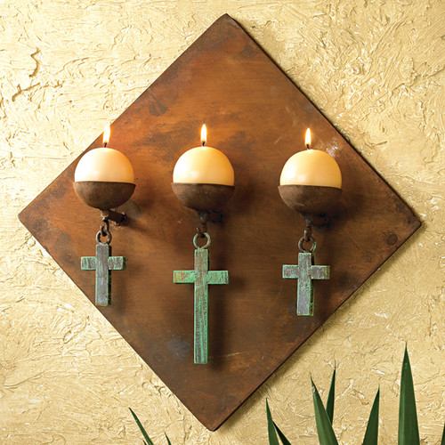 Diamond Candle Holder with Turquoise Crosses