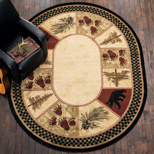 Timber Woods Bear Oval and Round Rug Collection