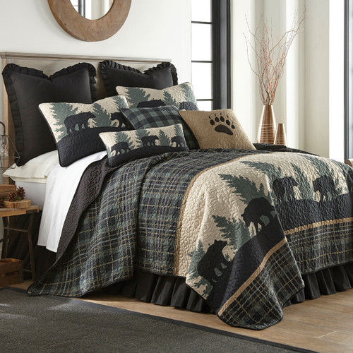 Timberland Plaid Bear Quilt Bedding Collection