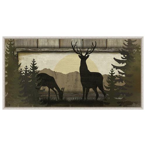 Doe & Buck White Framed Canvas