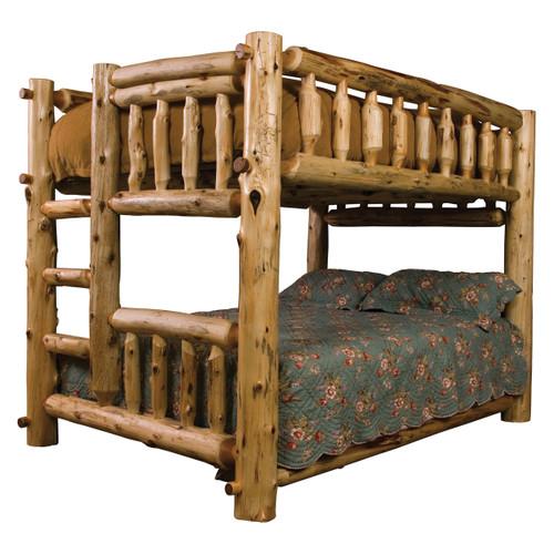 Log Bunk Bed - Full/Full (Ladder Left)