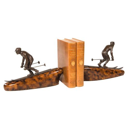 Downhill Skier Bookends - Bronze