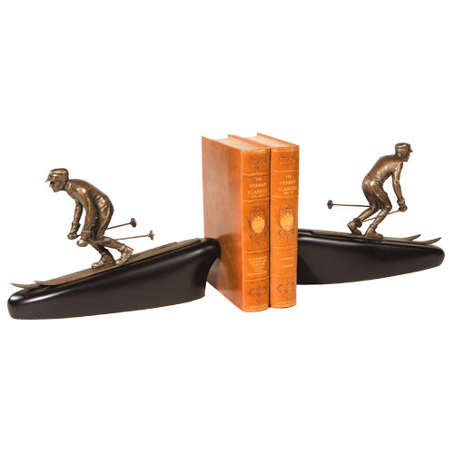 Downhill Skier Bookends - Vintage Gold