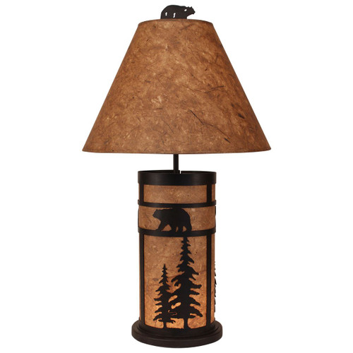 Kodiak Bear and Feather Tree Mission Style Table Lamp with Night Light