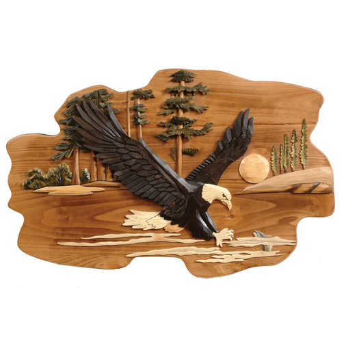 Eagle Carved Wood Wall Hanging