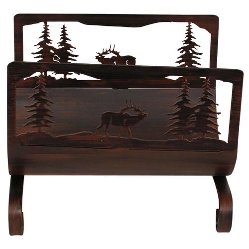 Elk Scene Wood Holder