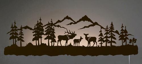 Elk Family Back Lit Wall Art