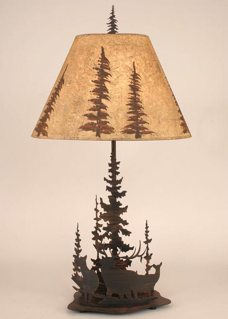Elk Family Round Metal Art Table Lamp
