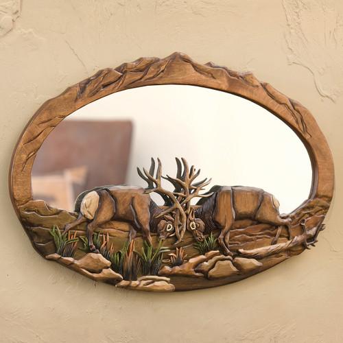 Elk Ridge Wood Carved Wall Mirror