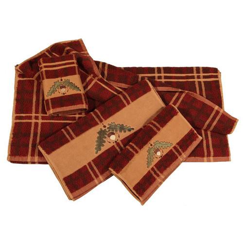 Embroidered Acorn Plaid Towel Set