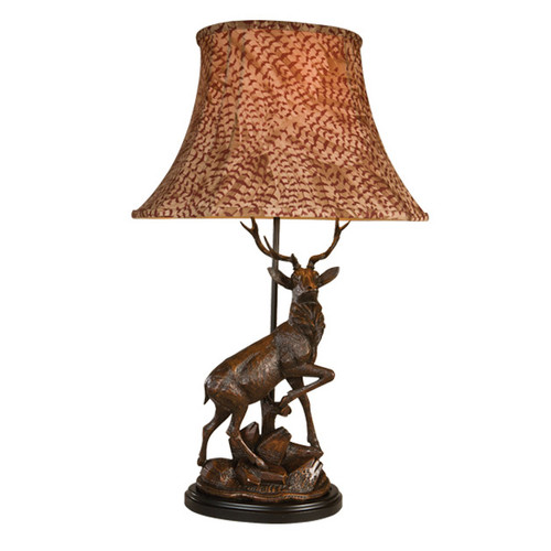 English Deer Table Lamp with Pheasant Shade - Right Facing