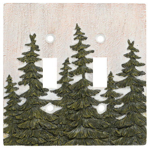 Evergreen Pine Tree Forest Double Switch Plate