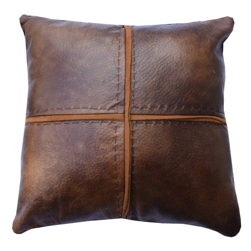 Faux Leather Cross Stitch Pillow