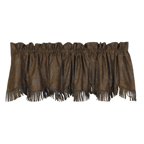 Faux Tooled Leather Valance