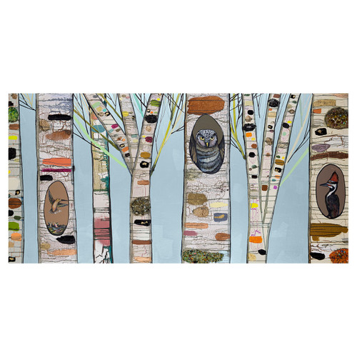 Feathered Forest Friends Ice Blue Canvas Art