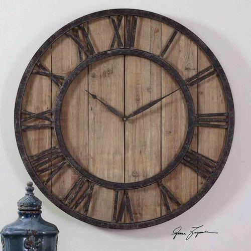 Fir Wood Wall Clock