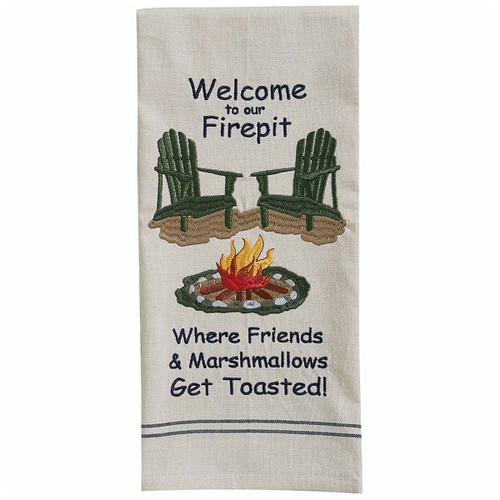 Firepit Welcome Embroidered Dishtowels - Set of 6