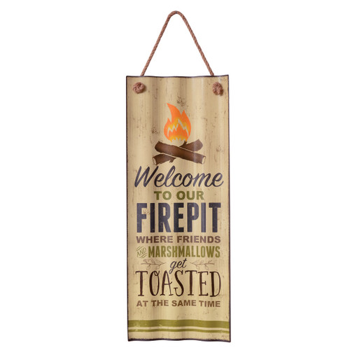 Firepit Welcome Metal Sign
