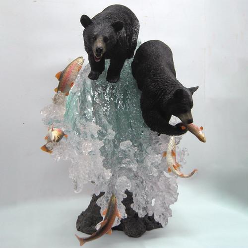 Fishing Black Bears Figurine