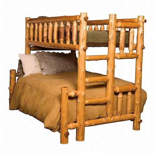 Cedar Log Bunk Bed - Twin/Full - Left Ladder