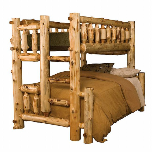 Cedar Log Bunk Bed - Twin/Full - Right Ladder