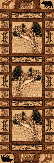 Fishing Scenes Rug - 2 x 7