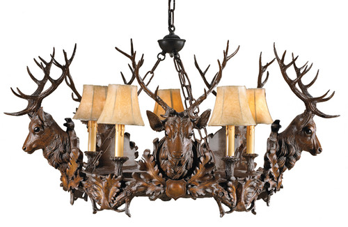 Five Royal Stags Chandelier