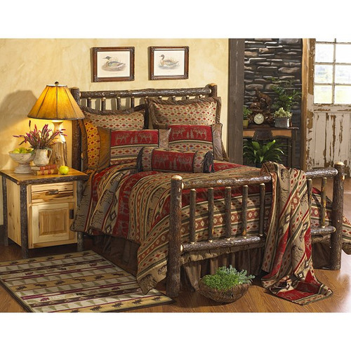 Hickory Traditional Log Bed - Queen