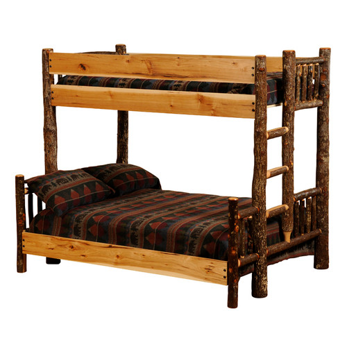 Hickory Twin/Full Bunk Bed (Ladder Left)