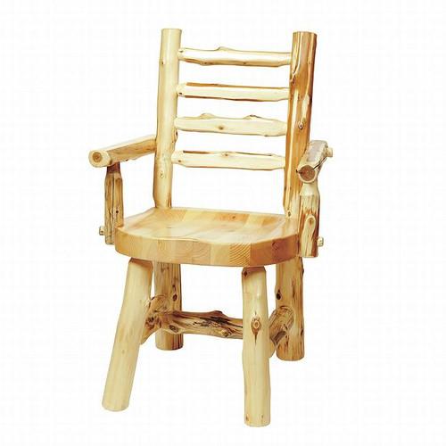 Cedar Log Ladderback Arm Chair