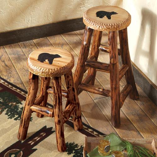 Carved Wood Bear Barstools