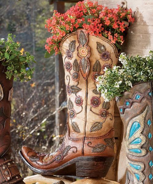 Flower Cowboy Boot Vase