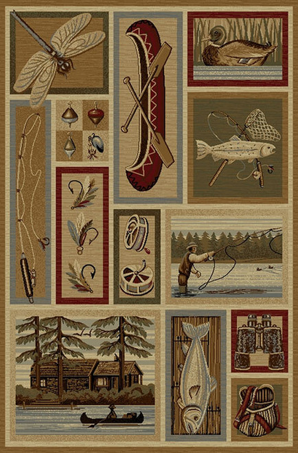 Fly Fishing Collage Rug - 5 x 8
