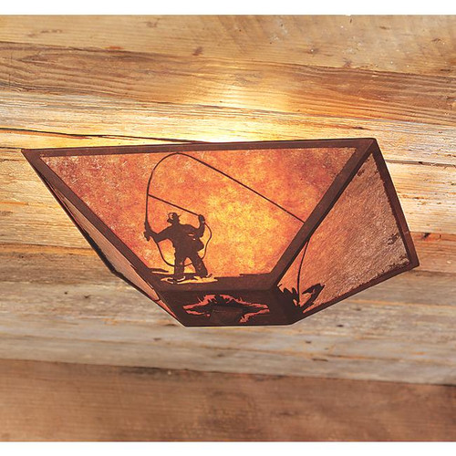 Fly Fisherman Drop Ceiling Mount Light - Rust - Amber Mica