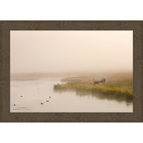 Foggy Morning Pond Framed Canvas