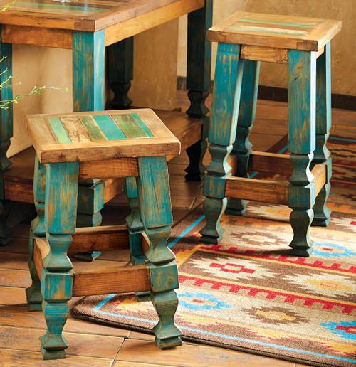 Old Wood Turquoise Barstool