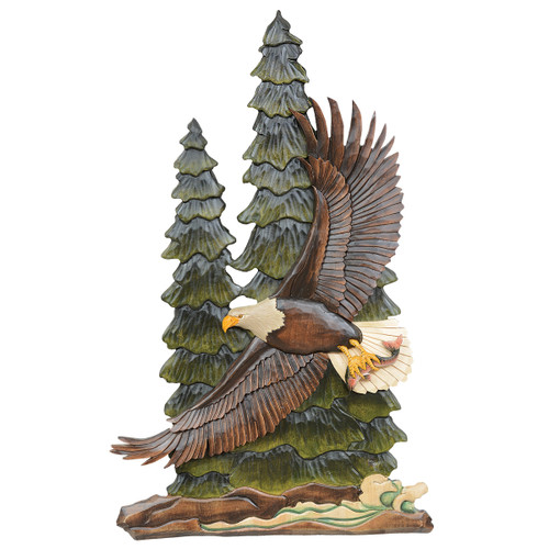 Forest Eagle Carved Wood Wall Art