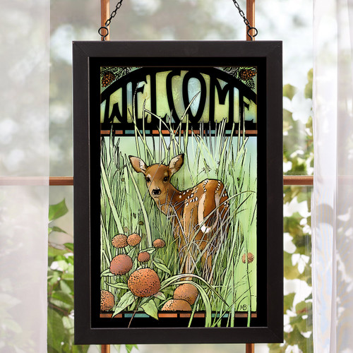 Forest Fawn Welcome Stained Glass Wall Art