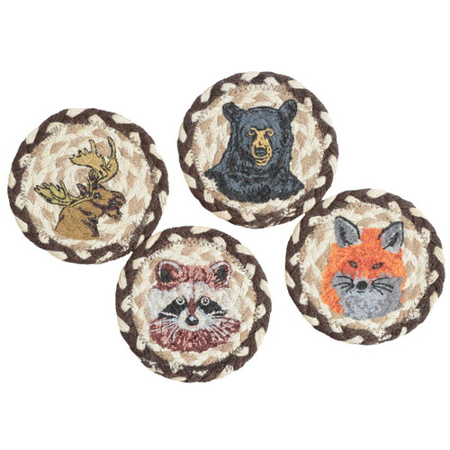 Forest Friends Braided Coasters - Set of 4 - BACKORDERED UNTIL 2/28/2022