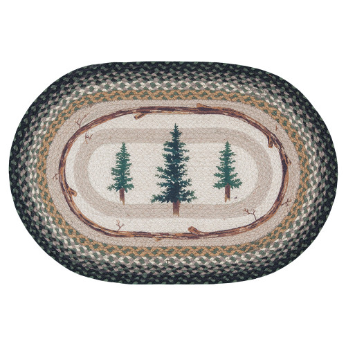 Forest Pines Braided Oval Rug