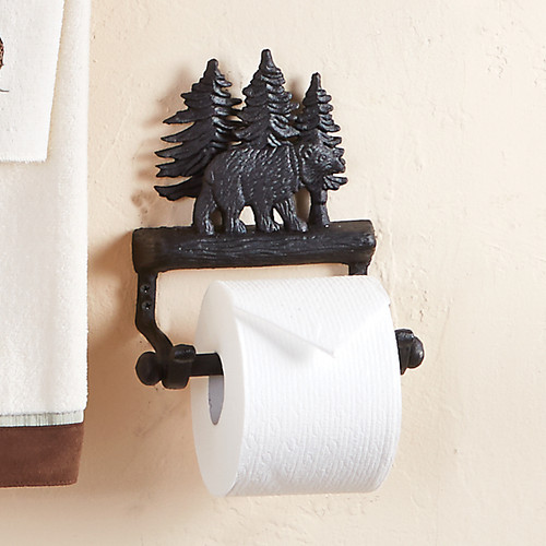 Forest Walk Black Bear Toilet Paper Holder